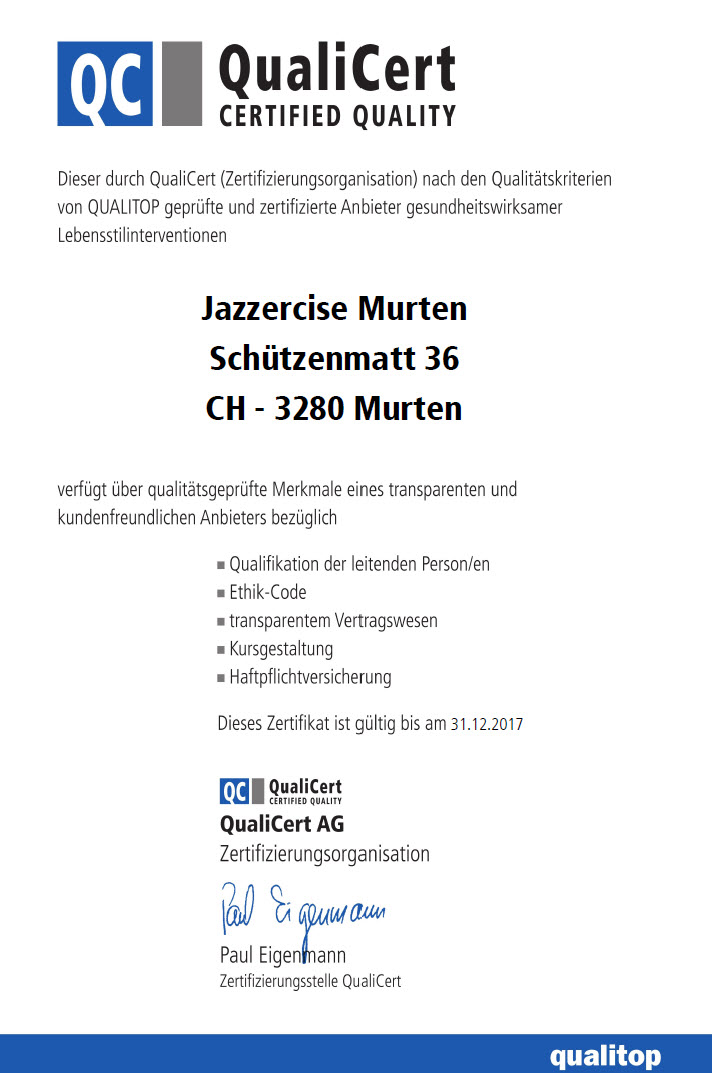 Qualicert Gütesiegel für Group Fitness Jazzercise Murten